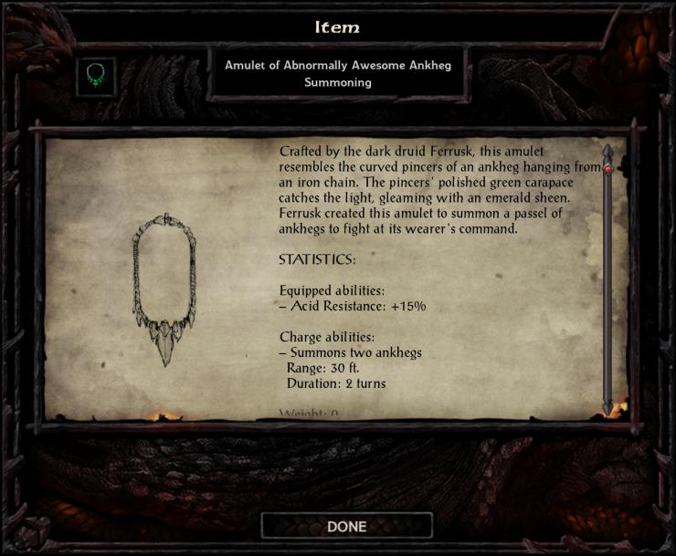 Amulet of Abnormally Awesome Ankheg Summoning